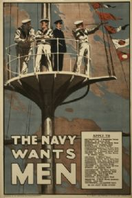 Vintage navy recruitment poster. The navy wants men